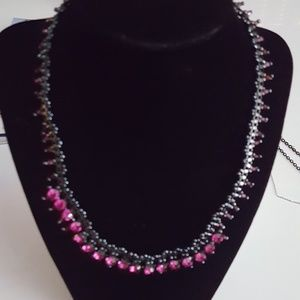 Black with pink stones necklace and earring set